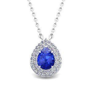 Pendant necklace with chain 2.30 ct  ceylon sapphi